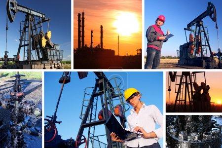Photo pour Travailleurs dans un champ pétrolifère, écran divisé - image libre de droit