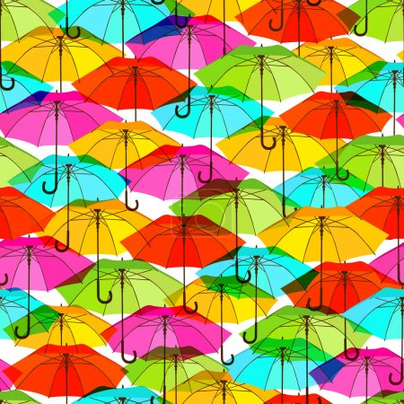 Seamless pattern with bright colorful umbrellas