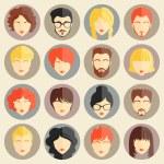 Постер, плакат: Vector set of stylish avatars of girls and guys in modern flat design