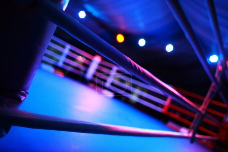 Photo for Empty boxing ring abstraction with defocused lights - Royalty Free Image