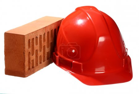 Brick and red helmet