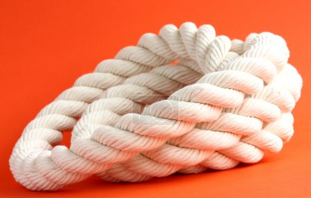 White cable on red background