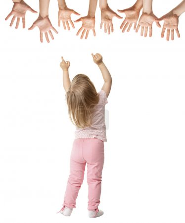 Little girl trying to reach streched hands