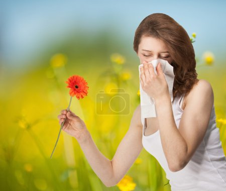 Young woman having allergy