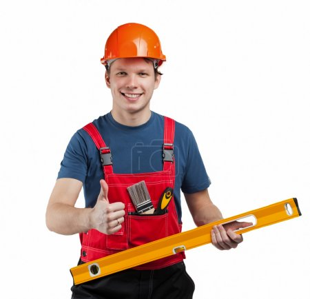 Cheerful construction worker in uniform