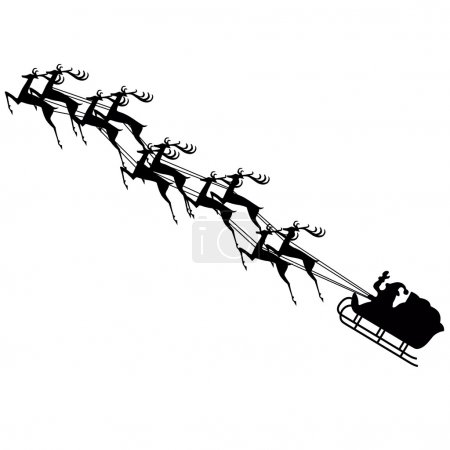 Santa claus on sledge with deer