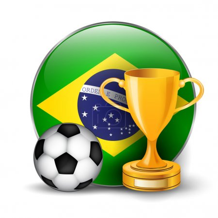 Brazil flag with gold cup