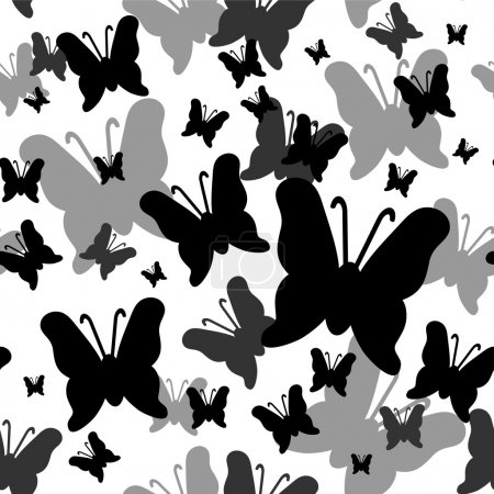 Seamless pattern with butterflies silhouettes
