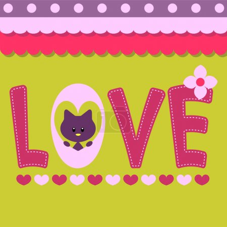 Love card with text and cute kitty
