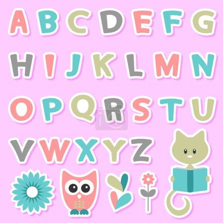 Cute childish stickers set with alphabet