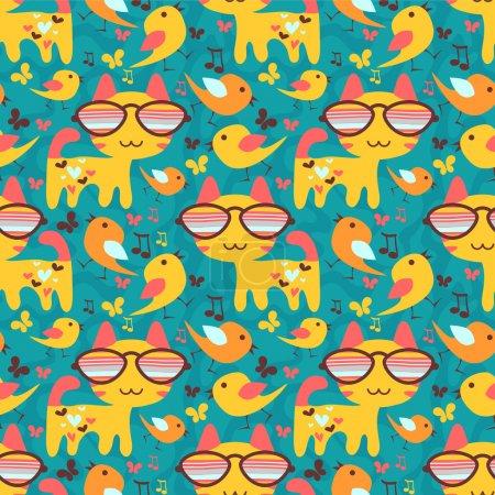 Cute childish seamless pattern with animals