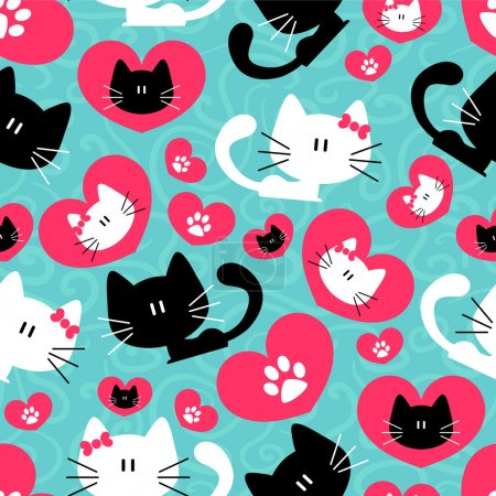 Illustration for Romantic seamless pattern with cute couple of cats - Royalty Free Image