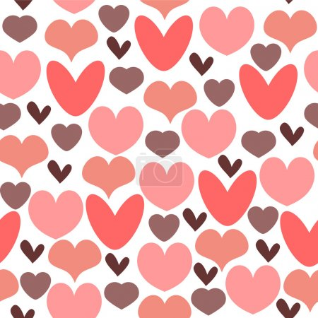 Illustration for Romantic seamless pattern with hearts - Royalty Free Image