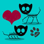 Two cute cat skeletons in love