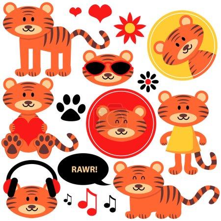 Illustration pour Ensemble de petits tigres drôles mignons - image libre de droit