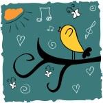 Cute illustration of bird singing songs...