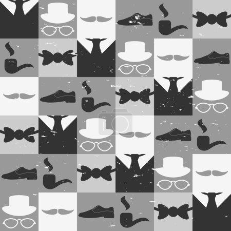 Dandy elements beautiful seamless pattern male fashion