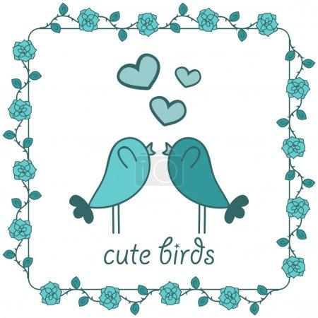 Illustration pour Deux oiseaux mignons amoureux - image libre de droit