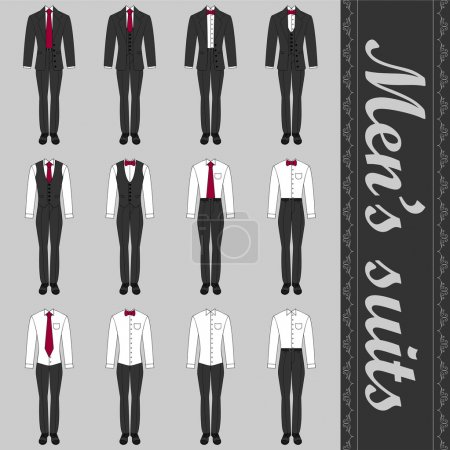 Set of various men's suits