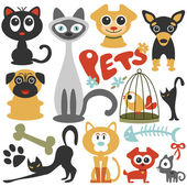 Set of cute little pets cats and dogs