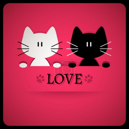 Illustration for Valentine card with cute cats - Royalty Free Image