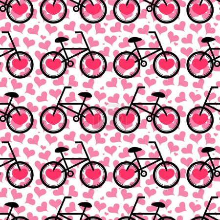 Romantic seamless pattern with bicycles