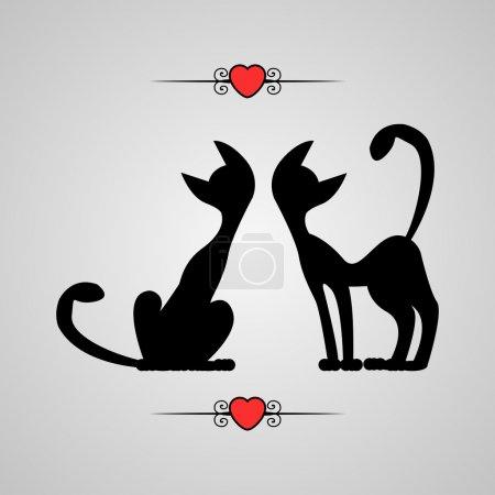 Illustration pour Illustration romantique silhouettes de deux chats - image libre de droit