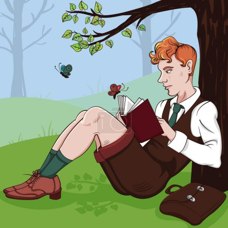 Illustration of Young boy reading a book