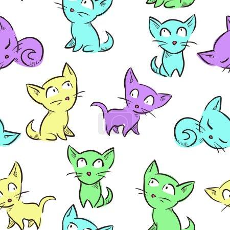 Illustration pour Modèle sans couture avec de jolis petits chatons. Texture sans couture vectorielle pour fonds d'écran, remplissage de motifs, arrière-plans de page Web - image libre de droit