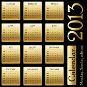 Vector calendar 2013 - Monday-Sunday edition