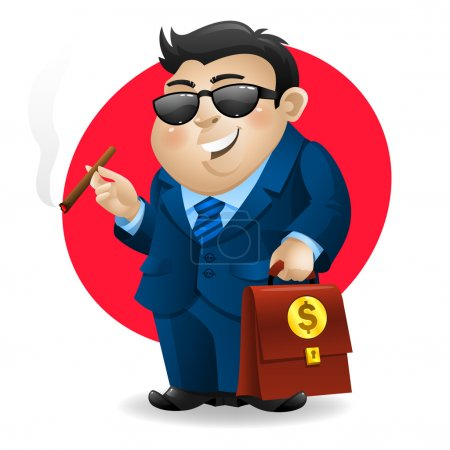 Businessman smoking cigar and holds suitcase