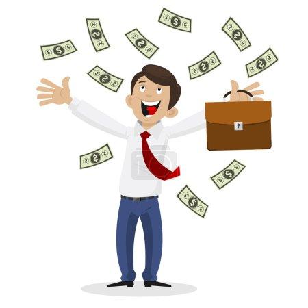 Illustration pour Illustration homme d'affaires a obtenu une énorme somme d'argent, format EPS 8 - image libre de droit