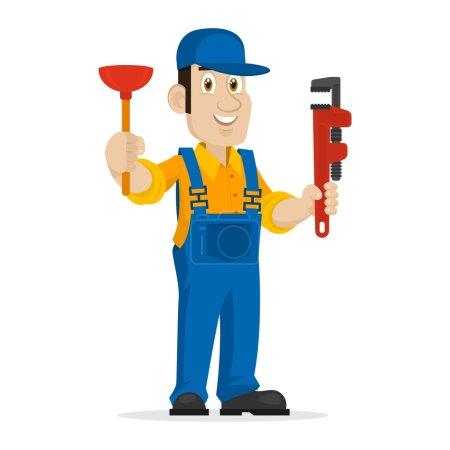 Illustration pour Illustration plombier tient piston et clé réglable, format EPS 8 - image libre de droit