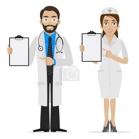 Illustration pour Illustration médecin et infirmière spécifie sur formulaire, format EPS 10 - image libre de droit