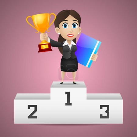 Businesswoman stands on pedestal holds cup