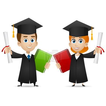 Photo pour Illustration, gars filles diplômés universitaires détient un diplôme, format EPS 10 - image libre de droit