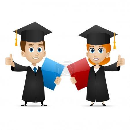 Illustration pour Illustration, gars filles diplômés universitaires montre pouces levés, format EPS 10 - image libre de droit