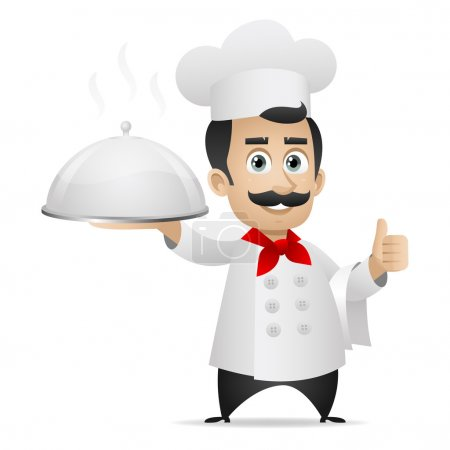 Chef holding tray and shows thumbs up