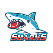 Emblem shark holds ball in his mouth