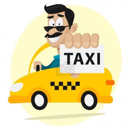 Illustration pour Illustration, chauffeur de taxi se déplace en voiture et souriant, format EPS 8 - image libre de droit