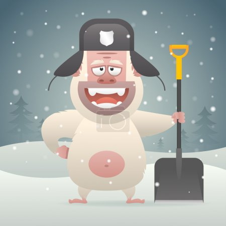 Yeti character holding shovel in winter forest