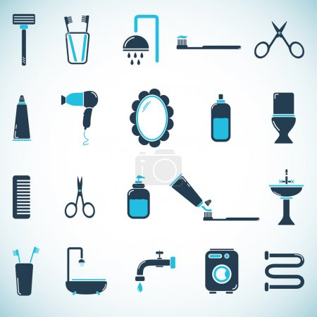 Illustration for Bathroom and toilet icons - Royalty Free Image