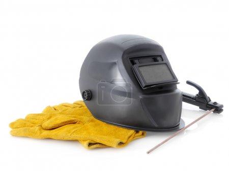 Photo pour Grunge noir soudure masque à main White - image libre de droit