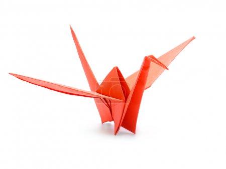 Foto de Grúa de origami japonés tradicional hecha de papel rojo sobre fondo blanco - Imagen libre de derechos