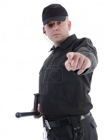 Policeman pointing