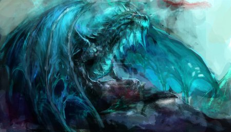 Photo for Ancient undead frost dragon illustration - Royalty Free Image