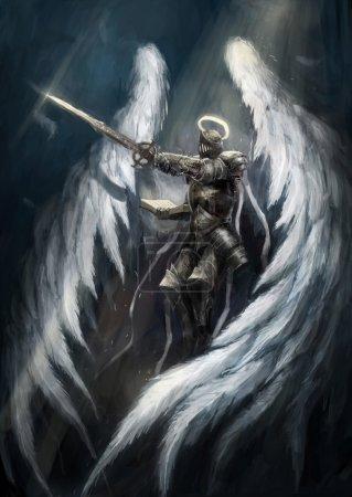 Photo pour Chevalier ange aux ailes blanches - image libre de droit