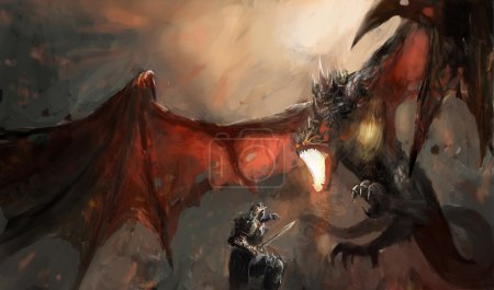Fantasy scene knight fighting dragon...