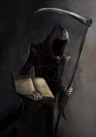 Photo for Grim reaper with a death book - Royalty Free Image