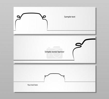Illustration pour Ensemble de trois décors monochromes de contour de voiture, image vectorielle EPS10 . - image libre de droit